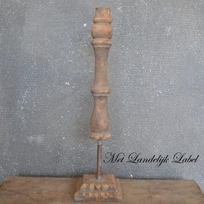 Oud hout kandelaar L + gratis pakje kaarsen