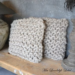 Kussen Knit Grijs/Bruin