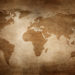 Aged style world map, paper texture background