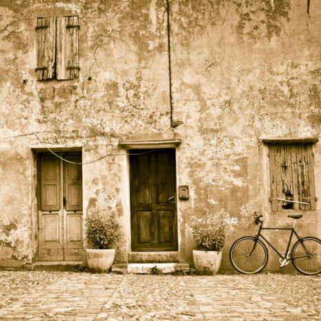 Old Facade With Bicycle, Sepia Toned
