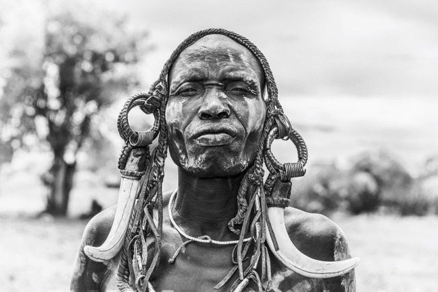 Warrior from the african tribe Mursi, Ethiopia