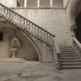 Stone staircase and courtyard.